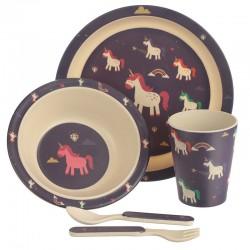 Bambootique Eco Friendly Unicorn Design Kids Dinner Set