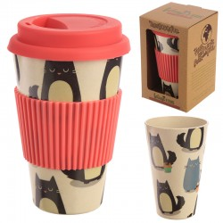 Bambootique Eco Friendly Cat Design Travel Cup